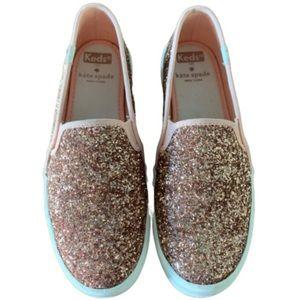 Kate Spade Keds rose gold glitter slip-on sneakers